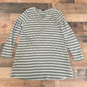theory Long Sleeve Striped Olive Green Gray Tee